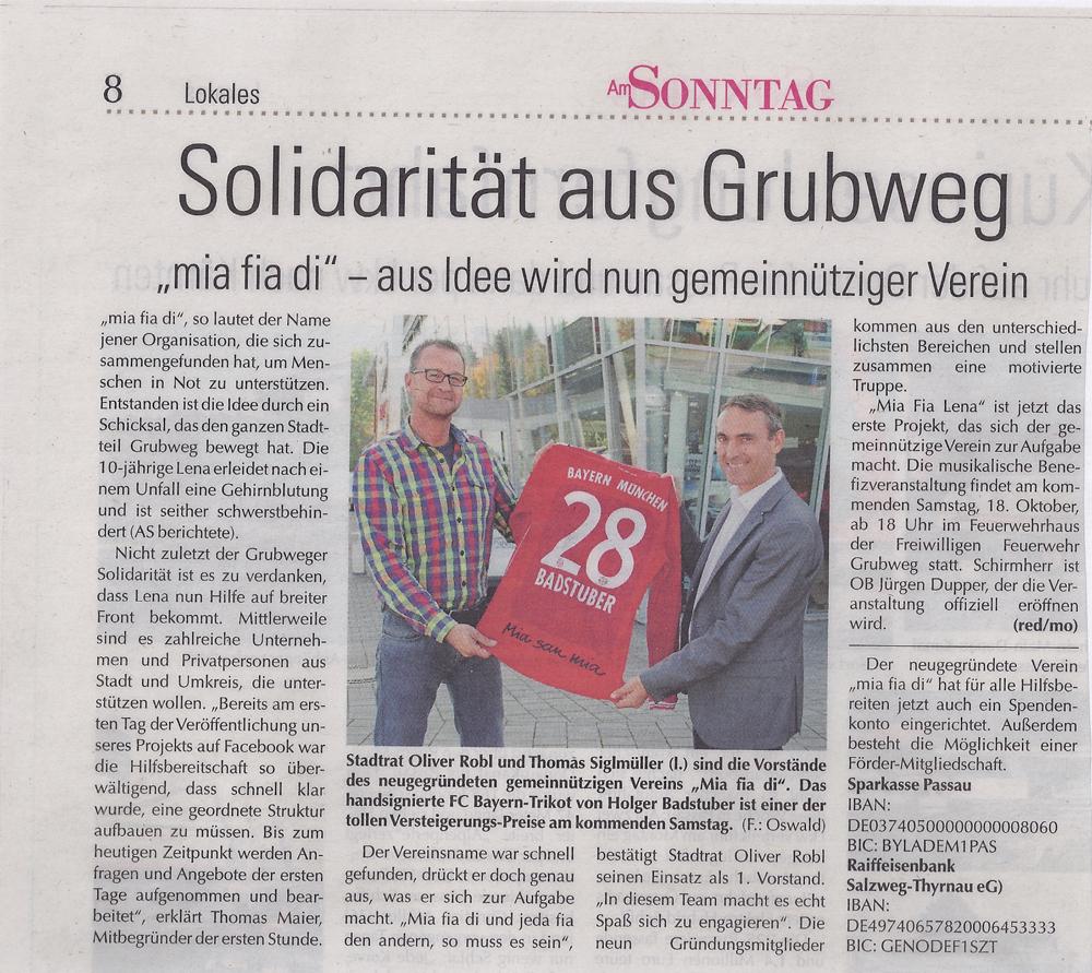 """Am_Sonntag: """"Solidaritaet aus Grubweg"""" Vorbericht Spende Bayerntrikot"""