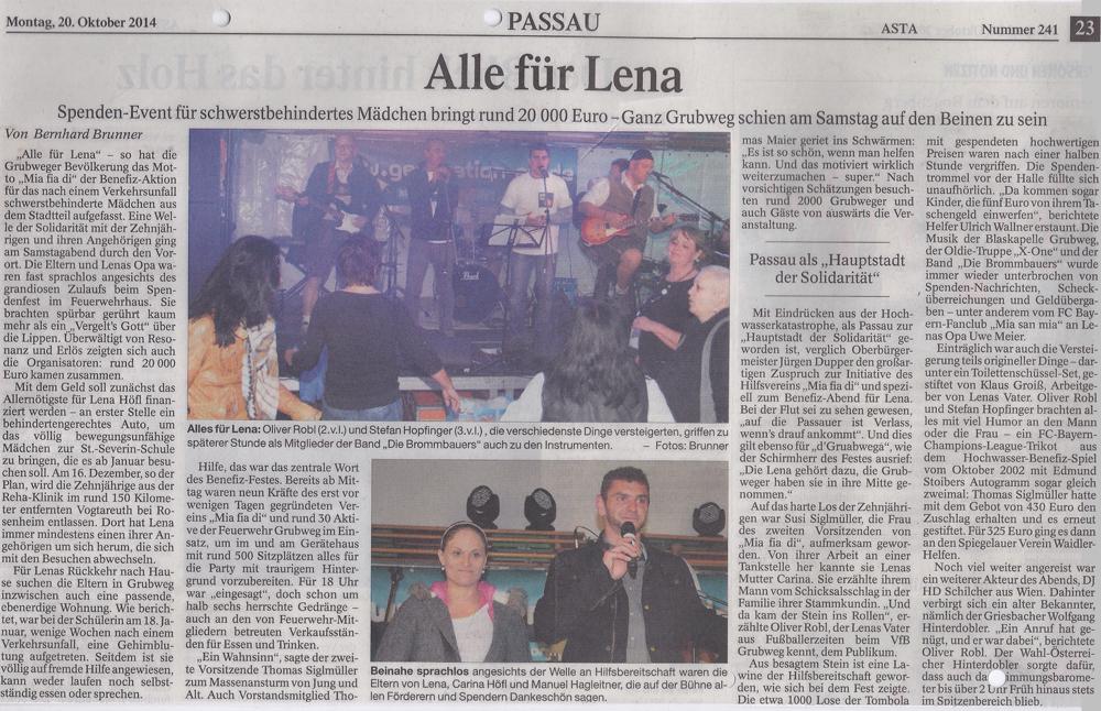 """Passauer Neue Presse: """"Alle für Lena"""""""