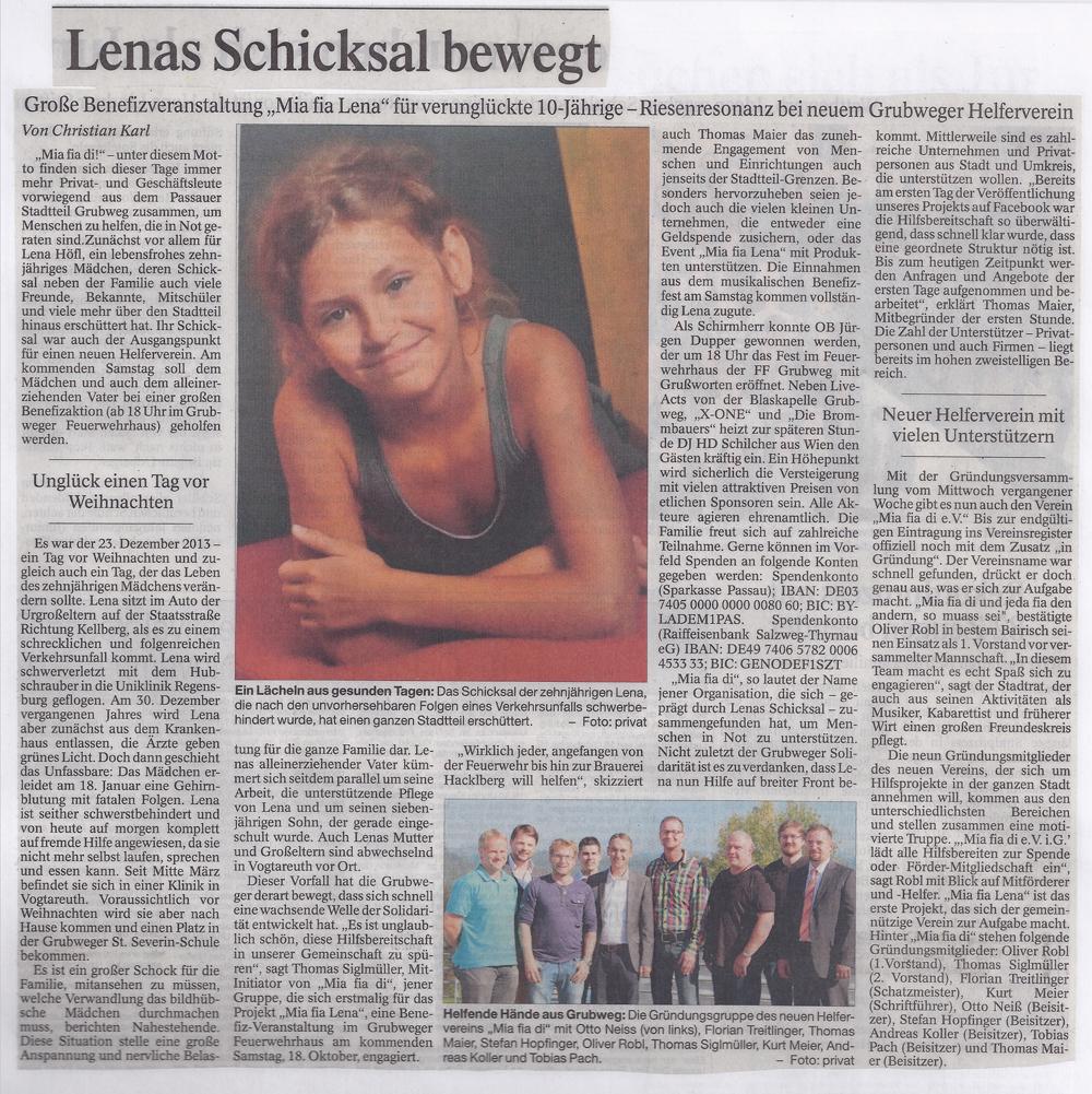 "Passauer Neue Presse: ""Lenas Schicksal bewegt """